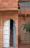 Entrance leading to guest room in Raas Haveli Hotel, Jodhpur, India