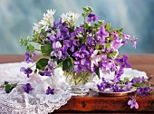 Spring posy of violets, sweet violets and ramsons