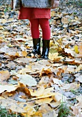 Girl standing amongst autumn leaves wearing fur jacket and boots