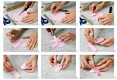 Pink bootees being made from modelling clay or fondant