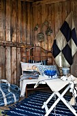 Maritime blue and white decor in rustic terrace