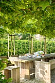 Rustic dining table and chairs made from wooden boards below green, vine-covered pergola