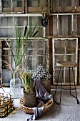 Still-life arrangement with rushes next to bar stool in front of DIY screen improvised from vintage windows against wooden wall