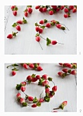 Miniature wreaths being made from hypericum berries