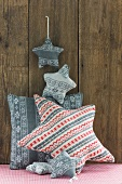Star-shaped tree decorations and scatter cushions