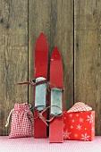 Christmas presents and old skis