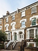 Elegant facades of traditional, English town houses