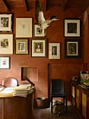 Framed photographs and stuffed bird in flight in study with walls painted red using wipe technique