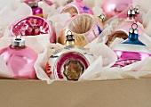 A box of Christmas ornanaments