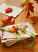 Autumn leaves on letters, studio shot