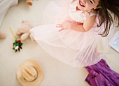 Small girl (4-5 years) dancing in tulle dress