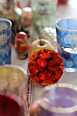 Foil Christmas bauble, tealight holders and small Russian doll