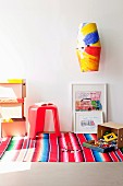 Lampshade decorated with children's drawings & hand-painted storage boxes