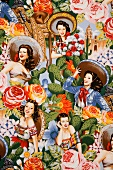 Cheerful wallpaper patterned with Mexican motifs, flowers and pretty women wearing sombreros