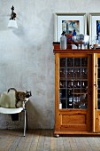 Display cabinet used as bar with bar equipment on top against patchy wall; cat on chair ready to jump