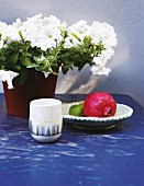 Pot of white petunias and pomegranate on blue garden table