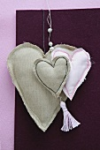 Hand-sewn linen hearts and hand-made tassel