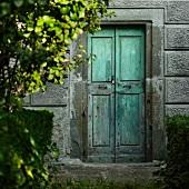 Old wooden door in concrete wall