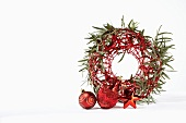 Wreath of eucalyptus and Christmas decorations