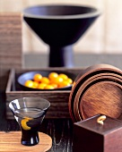Loquat Martini with a Collection of Japanese Wooden Bowls