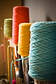 Bobbins of colourful yarn