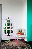 Cloakroom area with lattice of tape on poster of Christmas tree and corner chair with pink-sprayed legs on faux fur rug