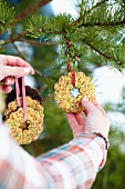 Woman hanging biscuits on a Christmas tree in the woods