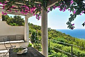 Flowering climber on pergola of Mediterranean terrace with wonderful view of green wooded landscape and the sea