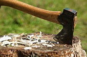 A wooden block with an axe and wood shavings