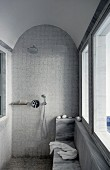 Shower area with mosaic tiles on walls and floor and barrel-vaulted ceiling