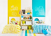 Yellow and gold children's room with two beds