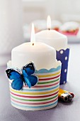Paper cake cases used as candle holders
