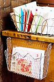 Colourful stationary in wire baskets