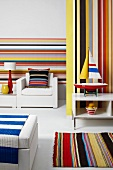 Home textiles and wall decor in colourful striped patterns