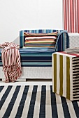 Home textiles and furniture with colourful patterns of stripes