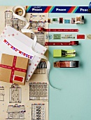 Gifts, colourful sticky tapes and washi tapes