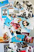 Collection of postcards and photos on pin board