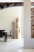 Wooden sculptures decorating modern dining area