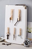 DIY key rack with clothes pegs