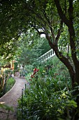 Path leading through flowering garden; flight of steps with white, stone balustrade in background