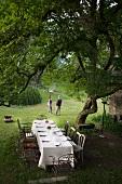 Blick in den Garten mit gedecktem Tisch unter dem Magnolienbaum