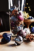 Christmas decoration on a table and in a glass container