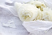 White roses with silk paper on a stone plate