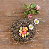 Jelly beans in an Easter nest