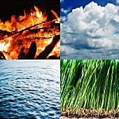 Composition of the four elements; fire, air, water, earth
