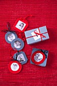 Hand-crafted Christmas tree decorations made from family photos in felt frames