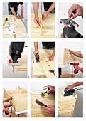 Various steps of making a DIY wooden shelving unit