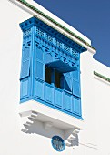 White house with blue balcony (Sidi Bou Said, Tunisia)