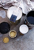 Open tins of various paints with paintbrush and cloth