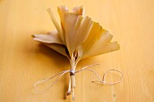 Tied bundle of gingko leaves on wooden surface
